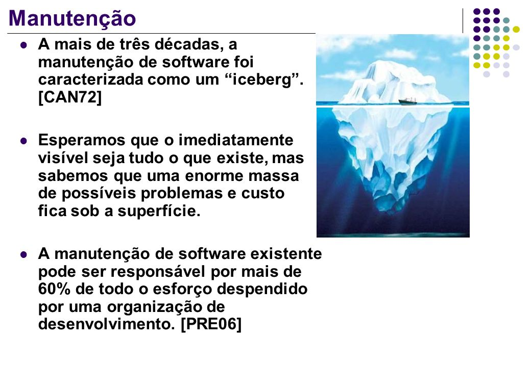 Manutenção A mais de três décadas, a manutenção de software foi caracterizada como um iceberg . [CAN72]